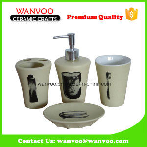 Low MOQ Complete Ceramic Bathroom Set Decal Toothbrush Logo pictures & photos