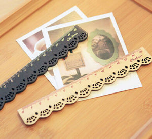 Cute Clear and Lovely Lace Wooden Ruler pictures & photos