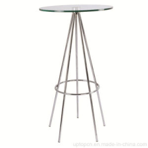 Bistro Glass High Round Bar Table with Stainless Legs (SP-BT650) pictures & photos