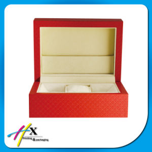 Red Textured Paper Rectangle Veneer Single Watch Packaging Case pictures & photos