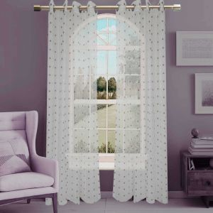 Jacquard Sheer Grommet Panel Window Curtain (HR14WT084) pictures & photos