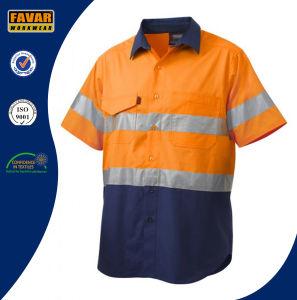 100% Cotton Reflective Spliced Short Sleeve Work Shirt pictures & photos