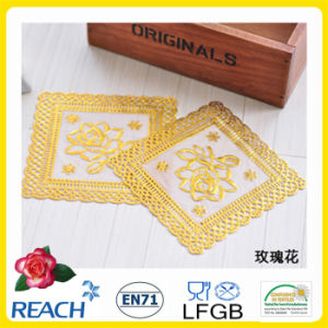 PVC Gold/Silver Lace Coaster pictures & photos
