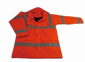 High Visibility Work Safety Rain Coat with Reflective Tape pictures & photos