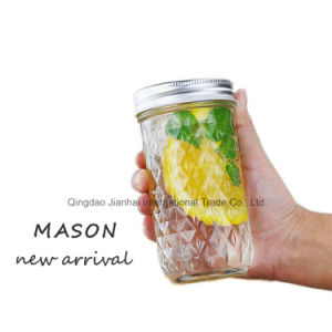 350ml Diamond Pattern Beverage Milk Fruit Glass Mason Bottle pictures & photos