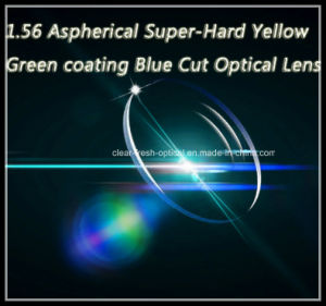 1.56 Aspherical Super-Hard Yellow Green Coating Blue Cut Optical Lens