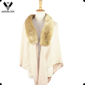 Stylish Soft Acrylic Elegant Shawl for Women with Fur Collar pictures & photos