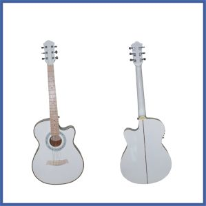 41 Inch White Acoustic Guitar with Cutway