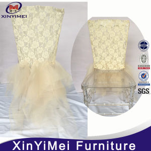 White Organza Ruffled Chair Sashes Stretch Chair Covers pictures & photos