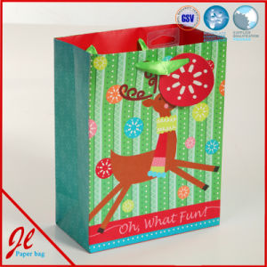 White and Simple Christmas Party Packaging Paper Bags with Hot Stamping pictures & photos