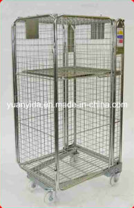 Wheeled Wire Mesh Zinc Plated Supermarket and Warehouse Roll Pallet pictures & photos