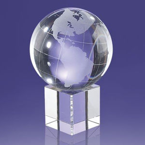 Crystal Globe on Crystal Cube Base Award Cheap Custom Trophies pictures & photos