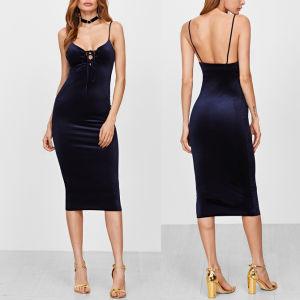Fashion Women Sexy Slim Velvet V-Neck Bandage Backless Slip Dress pictures & photos