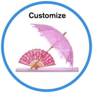 Chinese Wooden Handmade Embroidered Parasol White Wedding Lace Umbrella pictures & photos