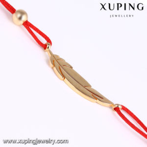 74702 Xuping Fashion Jewelry Gold Plated Red Rope Leaf Bracelet pictures & photos