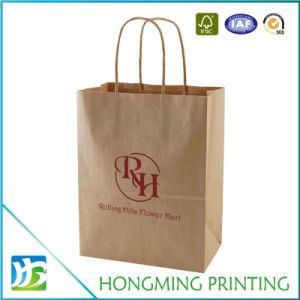 Custom Twisted Handle Kraft Paper Bag with Logo pictures & photos