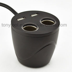 12V Cup Holder Car Charger with 2 USB Chargers pictures & photos