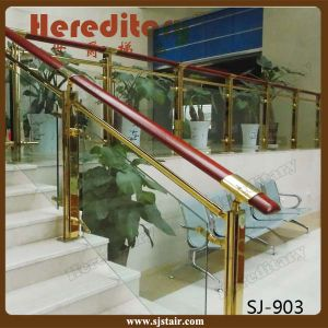Gold Color Stainless Steel Glass Balustrade Stair Railing (SJ-903) pictures & photos