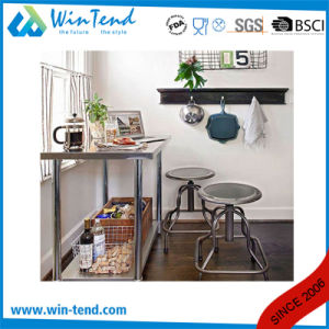 Stainless Steel Round Tube Shelf Reinforced Robust Construction Kitchen Work Bench with Height Adjustable Leg for Sale pictures & photos