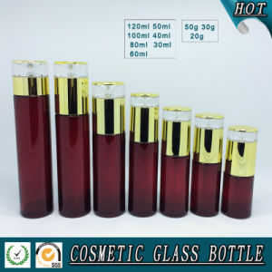 Cylinder Red Glass Cosmetic Bottles and Cream Jars pictures & photos