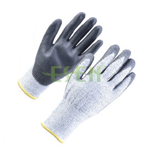 Hppe Liner Gloves Coated Esen PU Cut Resistant Work Glove pictures & photos