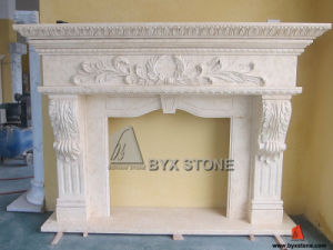 Natural Marble Stone Fireplace with Flower Carving for Home Decoration pictures & photos