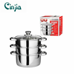 Amazon Vendor 24cm 4PCS Steamer Cooker Pot Set Stainless Steel pictures & photos