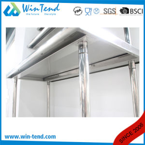 Stainless Steel Round Tube Shelf Reinforced Robust Construction Commercial Work Table with Hook and Height Adjustable Leg pictures & photos