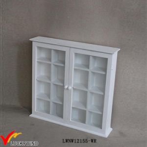 Small Vintage White 2 Glass Door Antique Wall Cupboard pictures & photos