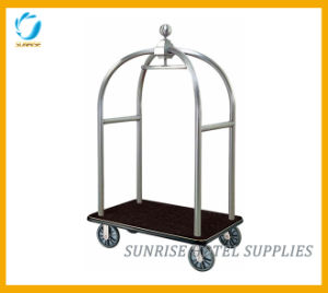Hotel Stainless Steel Luggage Trolley with Silver Chrome Finish pictures & photos
