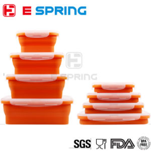 Family Needs Heat Resistant Food Container 4PCS Different Sizes Silicone Lunchbox pictures & photos