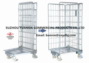 Supermaket Stackable Galvanized Steel Wire Rolling Cage Roll Container pictures & photos