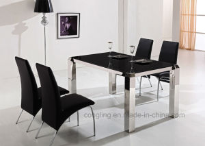 Glass Dining Room Table 6 Chairs Set
