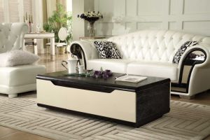 Modern MDF Top Coffee Table with Silver Stainless Steel Legs pictures & photos