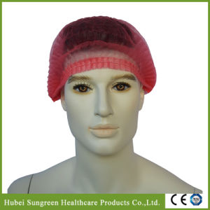 Disposable Non-Woven Mob Cap, Disposable Beauty Cap with Red Color pictures & photos