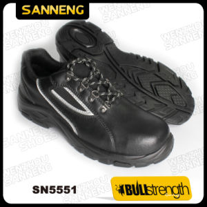 Black Safety Shoes for Service with Rubber Outlsole pictures & photos