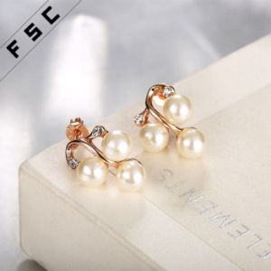 Fashion Rose Gold Plated Alloy Pearl Stud Earrings for Girl pictures & photos
