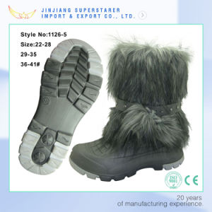 Womens Tall Rabbit Fur Covered Snow Rain Waterproof Winter Boots pictures & photos