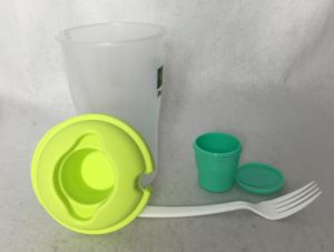 BPA Free Vegetable and Fruit Use Salad Shaker Cup with Fork pictures & photos