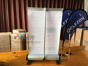 adjustable Quality Aluminum Double/Single Side A4/A3 Small Desk RollUP Banner pictures & photos