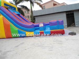 18′h Inflatable Rainbow Single Lane Slide for Amusement Park pictures & photos