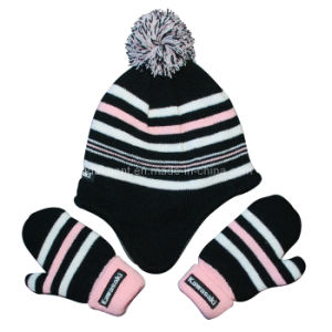 Striped Acrylic POM Polar Fleece Lining Glove and Earflap Knitted Beanie (TRK042) pictures & photos