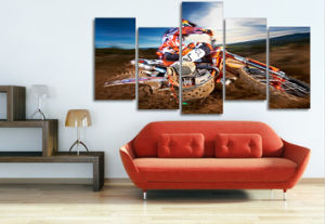 HD Printed Motocross Painting on Canvas Room Decoration Print Poster Picture Canvas Mc-069 pictures & photos
