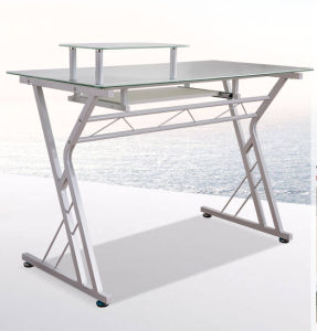 Home Office Computer Table with Modern Glass Tabletop Shape for Study Room pictures & photos