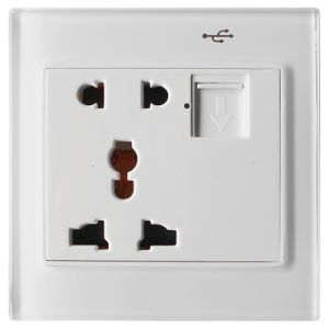 White Glass Faceplate Home Automation Electronic Multi-Functional Wall Socket