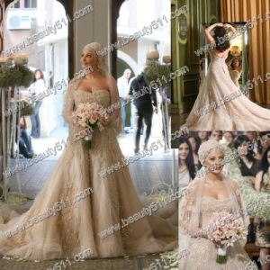 Net Lace Appliqued Arabic Style Wedding Dress (ZS011)