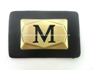 Brown Hot Stamped Metal Leather Badge pictures & photos