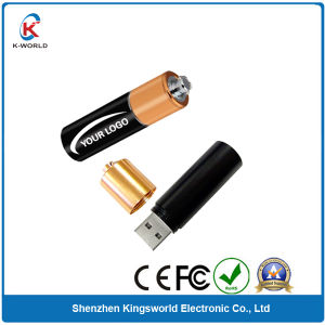 Drop Shipping Metal Battery USB Flash Drive with 4GB Capacity