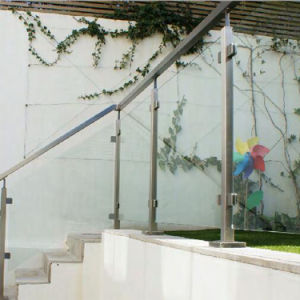 Modern Simple Design Balcony Glass Railing with Stainless Steel Posts pictures & photos