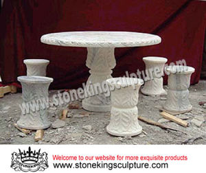 Marble Table and Chairs, Carved Stone Table and Chairs(SK-1934) pictures & photos